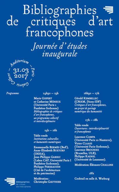 Programme de la JE critiques d'arts francophones